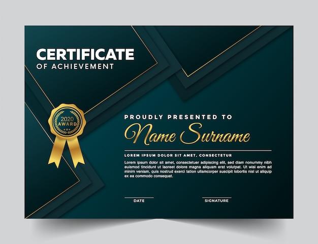 Certificado moderno con formas cuadradas
