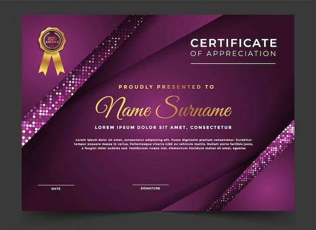 Certificado moderno de plantilla de diseño de apreciación