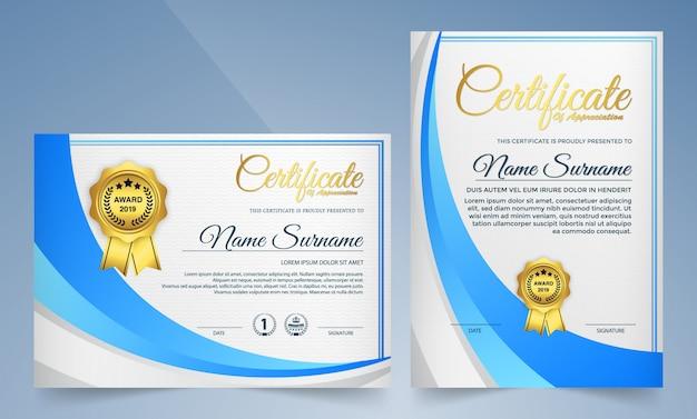 Certificado moderno de plantilla de logro, color dorado y azul.