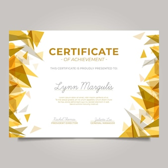 Certificado moderno con triángulos dorados.