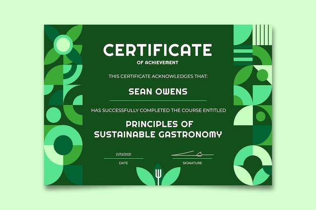 Certificado monocolor moderno comprometido con el medio ambiente