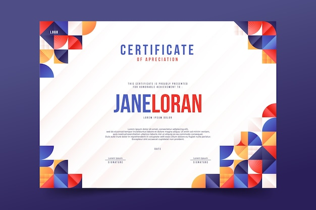 Certificado de mosaico degradado
