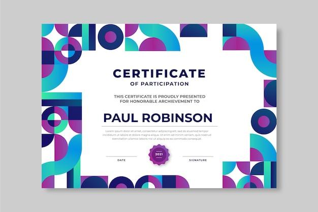 Certificado de mosaico de estilo degradado