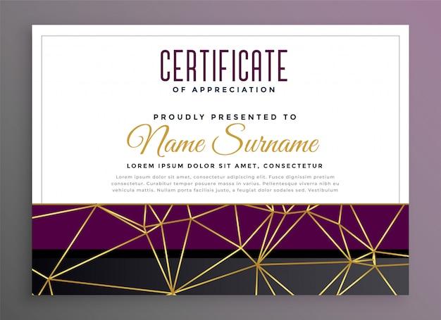 Certificado multipropósito premium con líneas doradas de baja poli