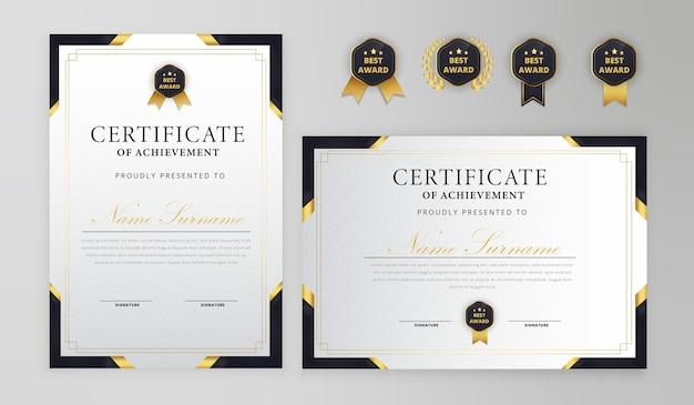 Certificado negro y dorado con insignia y plantilla de vector de borde a4