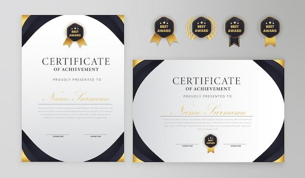 Certificado negro y dorado con plantilla de insignia a4