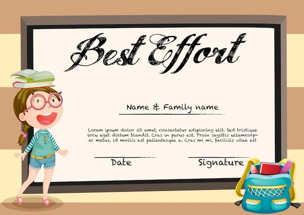 Certificado con niña y libros