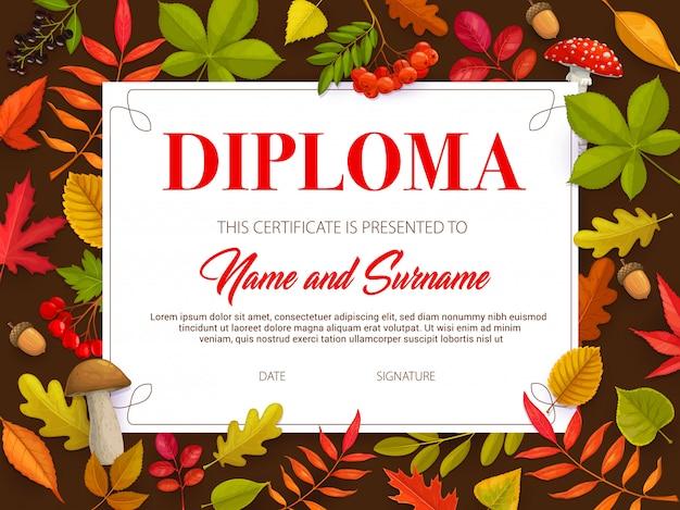 Certificado para niños con hojas de otoño y setas.