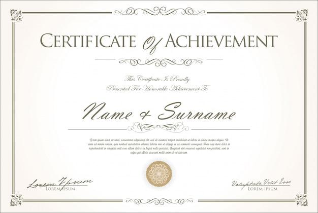 Certificado o diploma de diseño retro vintage.