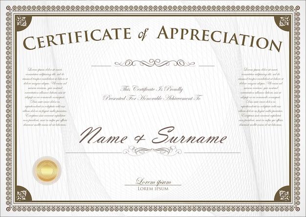 Certificado o diploma de diseño retro