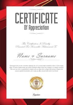 Certificado o diploma plantilla de diseño retro vintage
