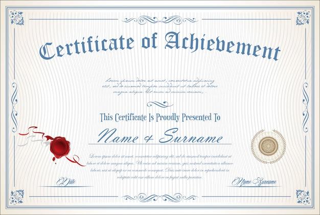 Certificado o diploma de plantilla retro.
