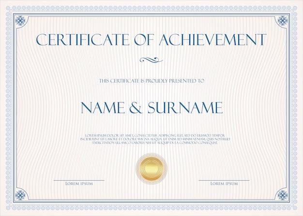 Certificado o diploma plantilla vintage retro