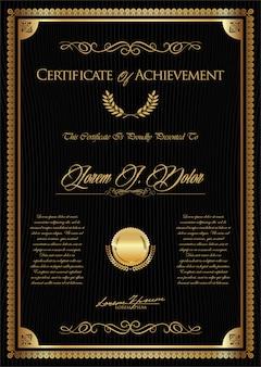 Certificado o diploma retro plantilla vintage