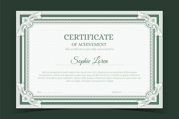 Certificado ornamental dibujado a mano