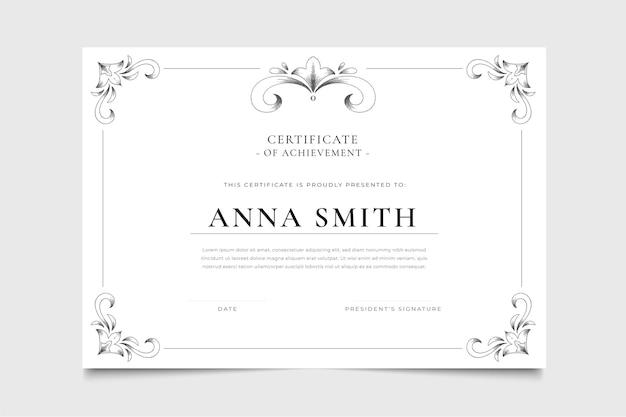 Certificado ornamental grabado dibujado a mano