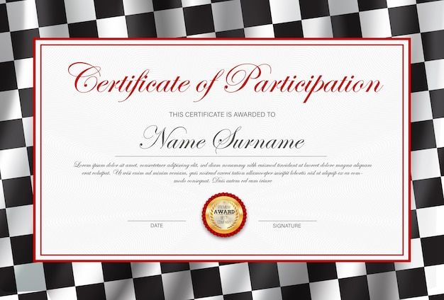 Certificado de participación, plantilla de diploma con bandera de rally a cuadros en blanco y negro.