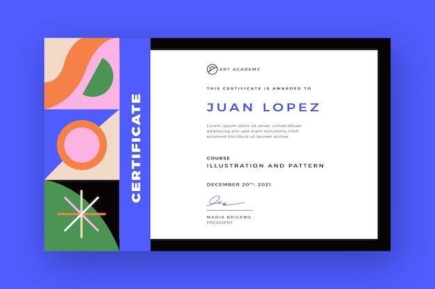 Certificado plano moderno de la academia de arte.