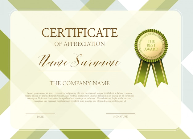 Certificado de plantilla de agradecimiento