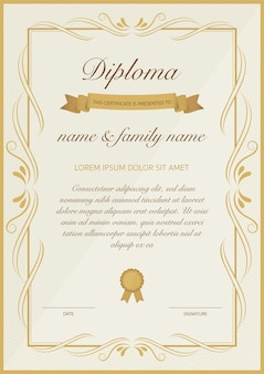 Certificado de plantilla de diploma con diseño floral dorado.