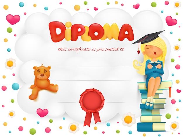 Certificado de plantilla de diploma con estudiante niña y oso de peluche.