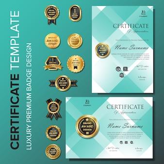 Certificado de plantilla de diseño moderno con distintivo.