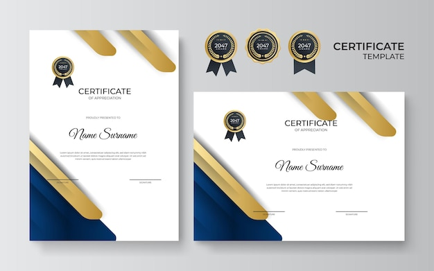 Certificado de plantilla de diseño de reconocimiento en color azul y dorado. diseño de diploma de negocios de lujo para la graduación de la formación o la finalización del curso. ilustración de fondo de vector