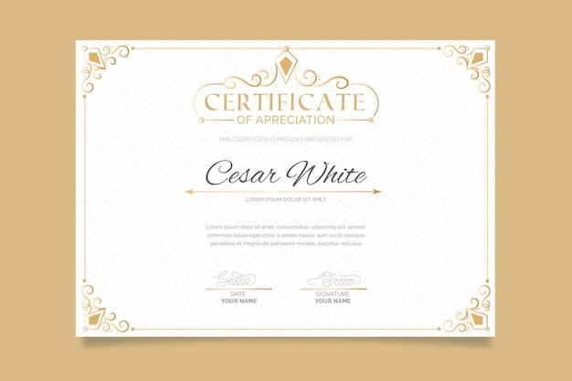 Certificado de plantilla elegante con marco