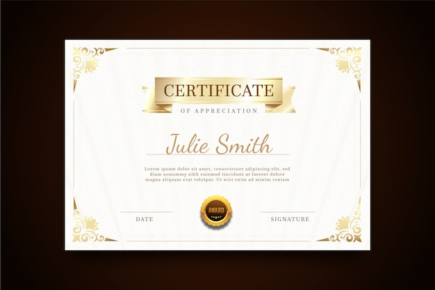 Certificado con plantilla elegante marco