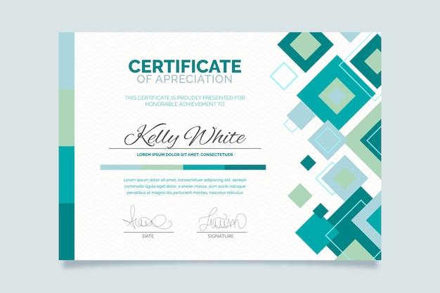 Certificado de plantilla geométrica abstracta
