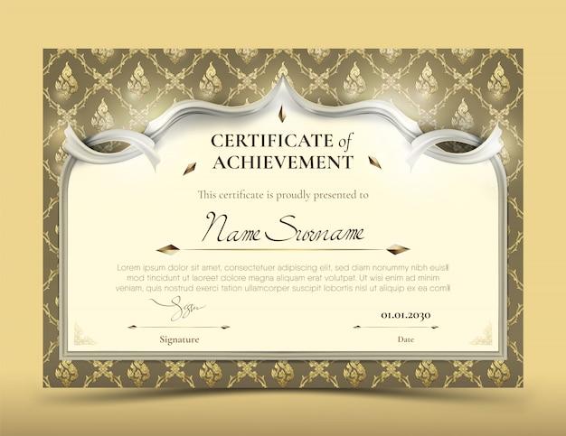 Certificado de plantilla de logro con borde de patrón tailandés de oro tradicional