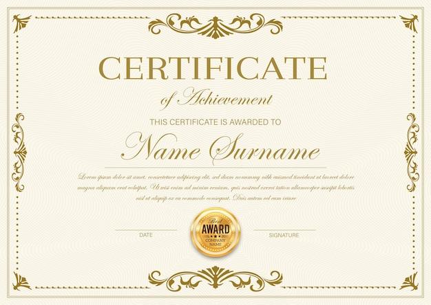 Certificado de plantilla de logro, diploma, marco de premio oficial, borde ornamentado