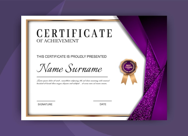 Certificado de plantilla de logro. diseño de diploma de premio