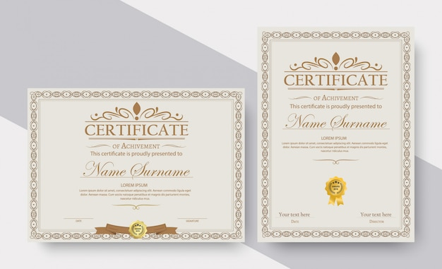 Certificado de plantilla de logro en vector