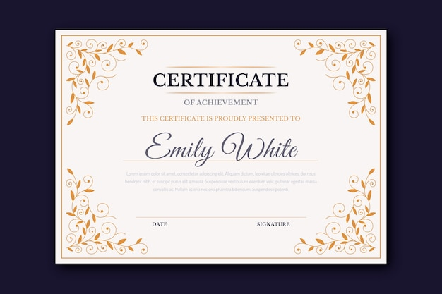 Certificado de plantilla de marco elegante