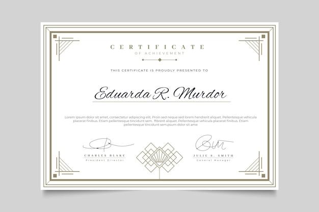 Certificado con plantilla de marco elegante