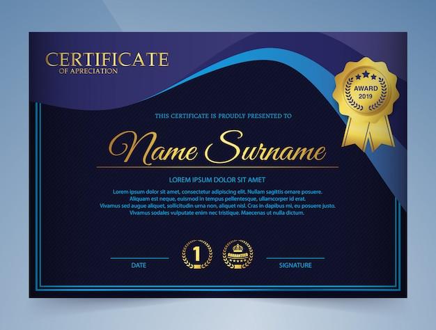 Certificado de plantilla de premio en elegante azul oscuro