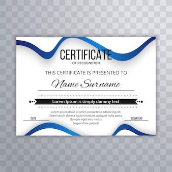 Certificado de plantilla premium premios diploma con diseño de ilustración de onda