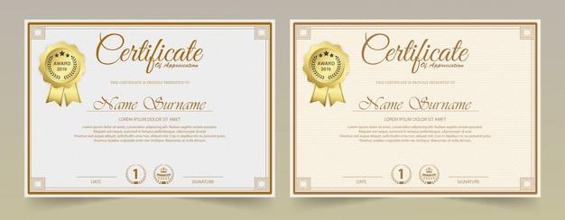 Certificado de plantilla de reconocimiento con borde dorado vintage