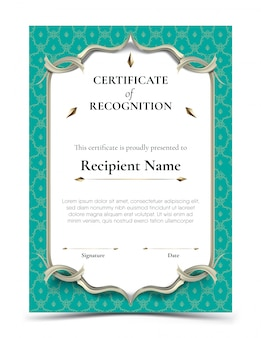 Certificado de plantilla de reconocimiento con borde de patrón tailandés turquesa tradicional
