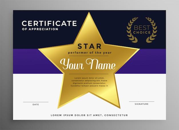 Certificado de plantilla de reconocimiento con estrella dorada
