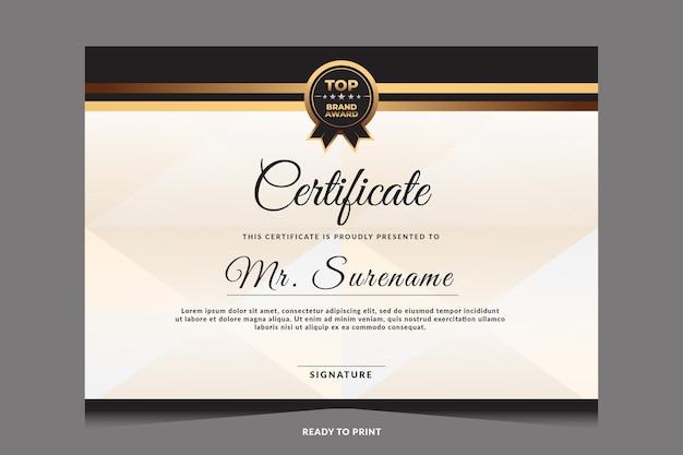 Certificado de plantilla de reconocimiento con insignia dorada.