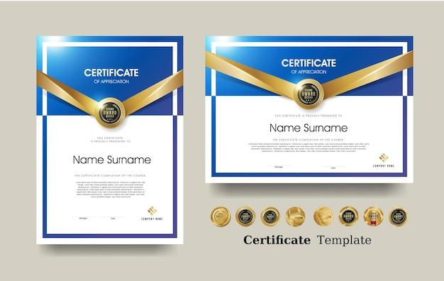 Certificado de plantilla de reconocimiento y vector diseño de insignias premium de lujo