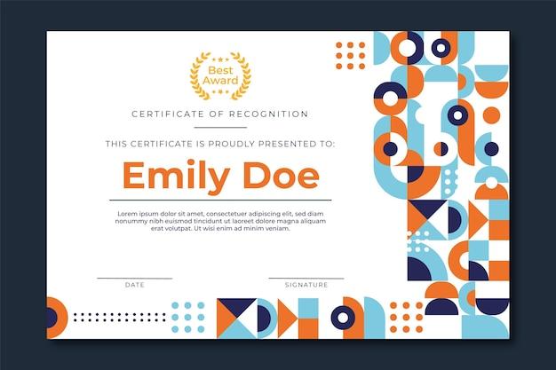 Certificado de premio al mejor gerente simple moderno