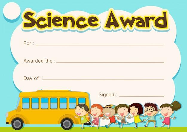 Certificado de premio con antecedentes de niños y autobuses escolares