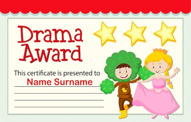 Un certificado de premio de drama.