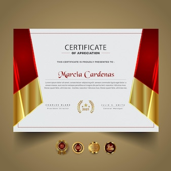 Certificado premium rojo plantilla de diploma nuevo