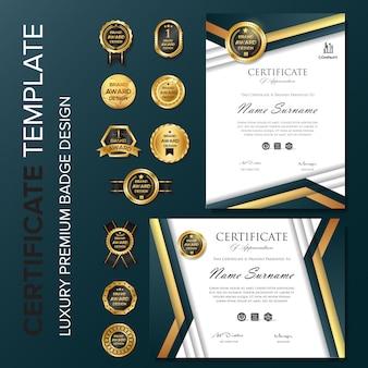 Certificado profesional con plantilla de distintivo.