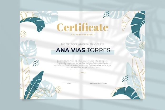 Certificado profesional de plantilla floral