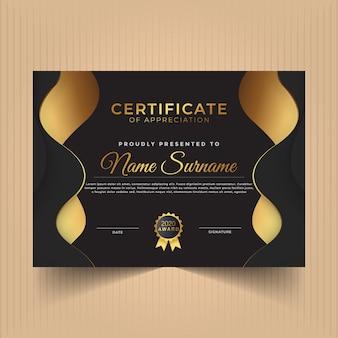 Certificado de reconocimiento con colores oscuros y dorados.